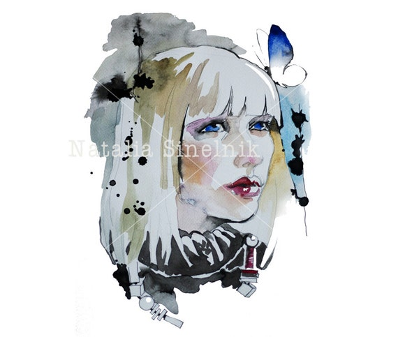 Blond girl with blue butterfly digital download from original watercolor fine art avatar clipart illustration