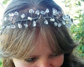 Fairy Crown- Crystal Quartz- Silver- Butterfly Charms- White Pearl- Wedding- Tiara- Crown- Headband- Hair Vine- Hair Accessory- Costume - CassieVision
