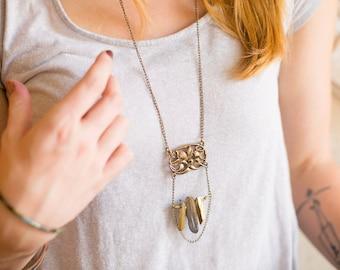 Art Nouveau Flying Orchid Necklace Quartz Crystal Hipster
