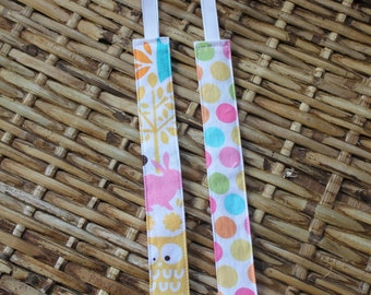 Universal Pacifier Clip - Set of 2 - Michael Miller - Forest Life and Diddly Dot