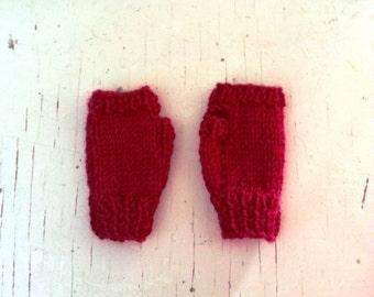 Red baby gloves - fingerless gloves -  handmade baby knit wool gloves -  newborn to one year old.