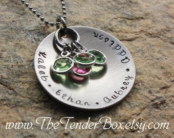 Mothers Necklace personalized hand stamped jewelry necklace with Swarovski birthstones