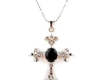 Cross Necklace- fleur de lis, cross, cross necklace, cross pendant, gold, silver, fleur de lis pendant,