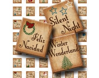 Christmas Songs - Digital Collage Sheet   - .75 x .83 Scrabble Size - INSTANT DOWNLOAD