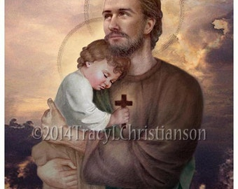 Saint Joseph and Baby Jesus Catholic Art Print #4116