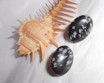 Vintage pierced earrings 1985 DAMA Black Agate stones