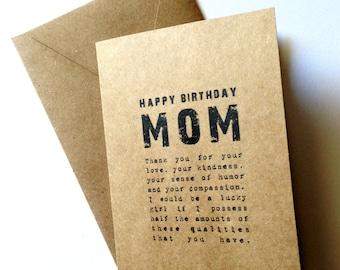 Rustic mom birthday card - Rustic blank card - Kraft Mother's day card - Mother's day - Paper goods - Kraft - Kraft Birthday