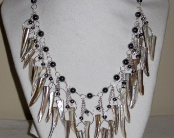 Shell Spikes Onyx Silver  Necklace.