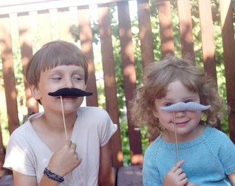 Crocheted Mustache for Birthday party - Photo-shoot decoration - Children celebration decor - Mustache for Wedding party