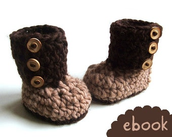 Instant Download - Crochet Pattern - Chunky Brown Booties - PDF ebook No. 41