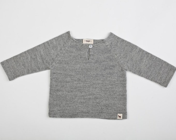 Raglan pullover / Baby alpaca gray sweater / light pullover for boy / girl / baby / toddler / kids