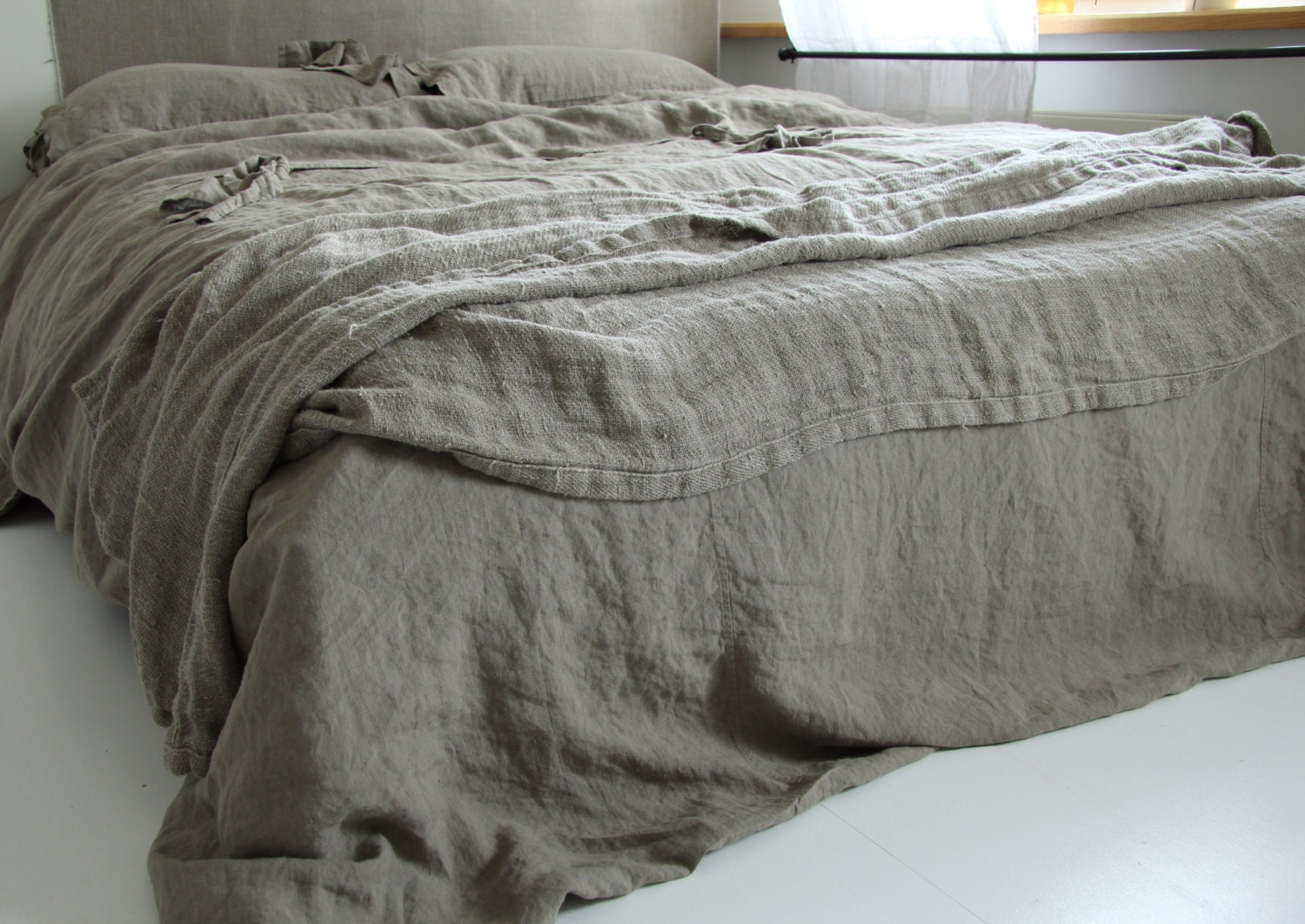 linen duvet cover and two pillowcases set linen bedding by