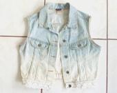 Size S/M Vintage Lace Ombré Cropped Denim Vest
