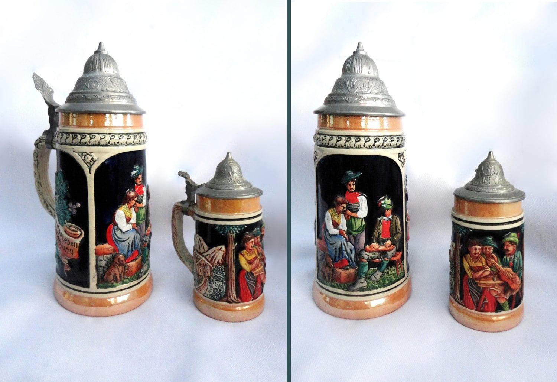2 Vintage German Beer Steins Pewter Lidded German Stein