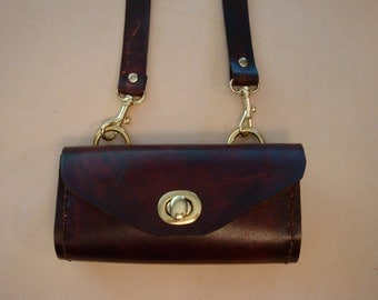 Tara Handmade Brown Leather Crossbody Bag - Small Purse - Handbag