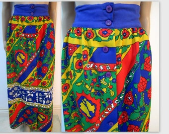 1970's Psychedelic  Boho Maxi Skirt, Hippie Gypsy Maxi skirt/ Woodstock worthy maxi festive skirt