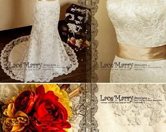 Deep V-Cut Back Vintage Style Lace Wedding Dress Features Illusion Neckline and Satin Sash
