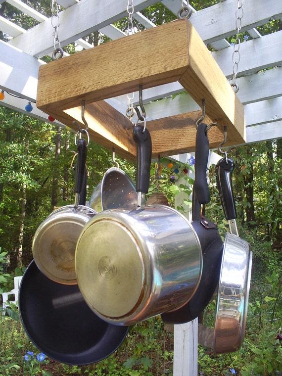 Pot holder rustic wood pot rack from upcycled oak pallet for Reclaimed wood pot rack