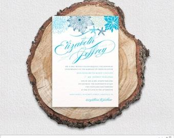 Floral Starfish Wedding Invitation Package