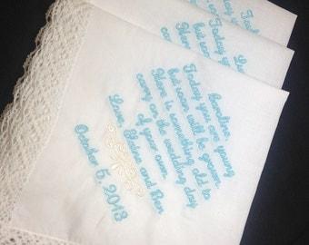 FLOWER GIRL Wedding Handkerchiefs - SET of 3 - Keepsake Hanky Hankies