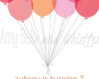 Pink and Orange Balloons Girl Birthday Invitation Custom Personalized - Digital File