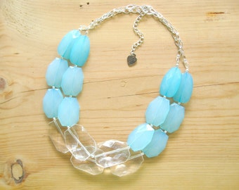 Aqua statement necklace, Turquoise statement necklace, Chunky Turquoise Aqua necklace