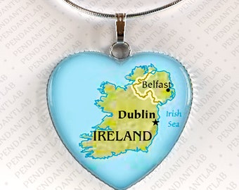 ... Ireland Charm, Ireland Jewelry, Map of Ireland, Gift, Wedding, Travel