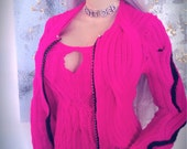 Hot Pink WIDE-Cable Cardigan (without matching halter top) w/ Rhinestone Zipper