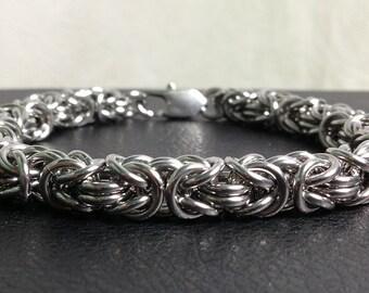 Mens stainless steel bracelet, Byzantine chainmail bracelet, stainless steel Byzantine bracelet