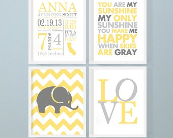 birth announcement boy, elephant birth stats wall art, yellow and gray birth details print, personalized baby gifts, birth print, baby stats