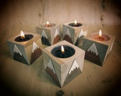 Wooden candle holder. Mountains, for tea light. Hand cut veneers on wood cube. Snow capped mountain design. SNOWKAPS..