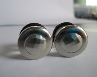 Clearance Sale - Silver Geometrics Round Button Plugs - Available in 0g, 00g, 7/16 in, and 1/2 in.