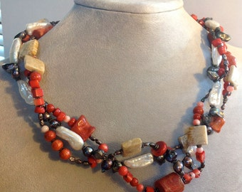 Delightful Coral Pearl Seaside Necklace Hand-Wired Fun Whimsical Statement