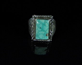Turquoise with Pyrite Mens Ring Sterling Silver Handmade Size 10.75, R0235