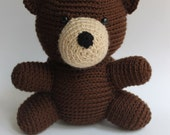 "8"" Crocheted Stuffed Teddy Bear, Amigurumi Crochet Teddy Bear, Dark Brown Stuffed Bear, Crochet Plush Bear, Kawaii Teddy Bear Doll"