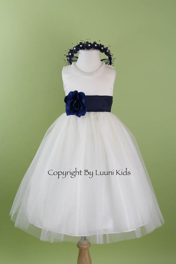 White Flower Girl Dress With Navy Blue Sash 76