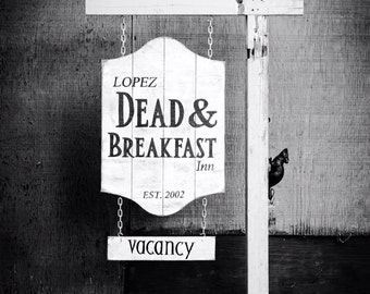 Dead & Breakfast - Halloween Wooden Sign - Custom Hanging Decoration - Prop - Decor - Personalized