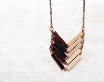 Wood Geometric Necklace // FRENCH VANILLA // Minimal Jewelry // Brown Beige Hand-Painted Necklace // Modern Necklaces // Chevron Necklace