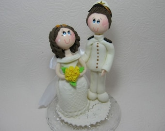Custom wedding cake topper, marine cake topper