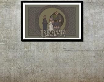 Merida Family Tapestry - Brave / Disney Pixar Inspired - Movie Art Poster