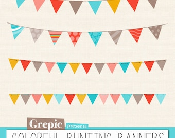 "Bunting banners clipart: ""COLORFUL BUNTING BANNERS"" multicolor bunting banners clip art pack with garland clipart for birthday card, invites"