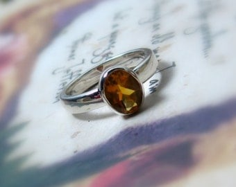 Citrine Gemstone In Sterling Silver, Ready to Ship, Size 5.25, Oval
