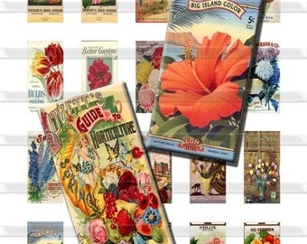 Seed Packets Antique Vintage Flowers Plants Digital Images Collage Sheet 1x2 inch Rectangles Domino Commercial INSTANT Download RD04