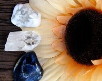 Healing Stone Trio, Sodalite Tumbled Stone, Howlite, Crystal Quartz Point, Reiki Healing, Healing Crystals
