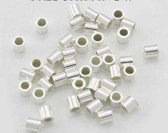 Sterling Silver Crimps, 2mm Crimp Beads, Sterling Silver .925 Crimp Beads, 100pcs, Crimps Tubes, USA, Sterling Silver Crimps, Crimp Tubes