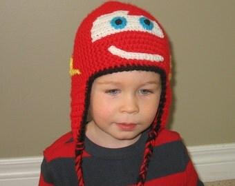 Crochet Lightning McQueen Hat, Cars Hat, Toddler McQueen Hat, Boys Cars Hat, Toddler Boys Hat, Newborn McQueen, Newborn Photo Prop