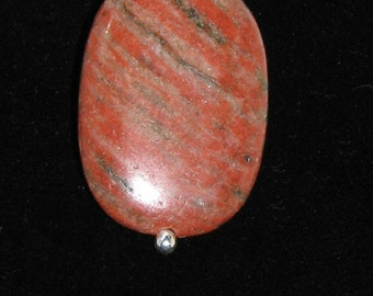 Red Sesame Jasper and Sterling Silver Pendant