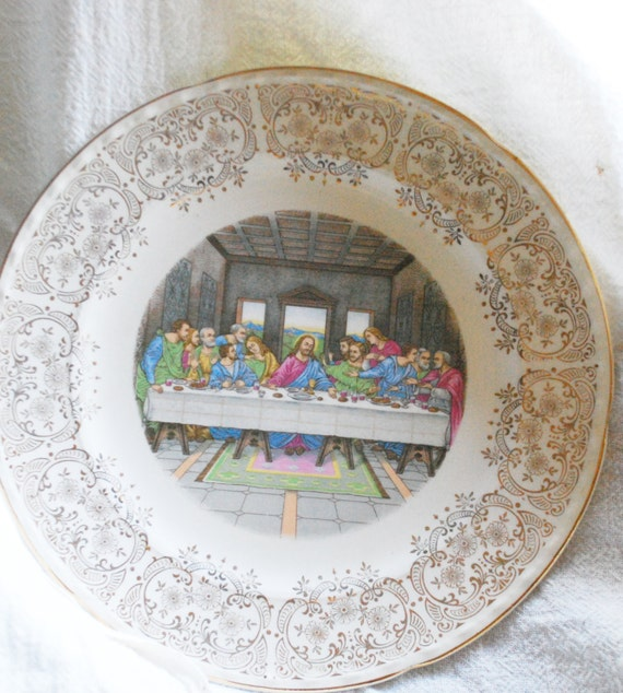 Crooksville China Co Last Supper Plate With Gold Floral
