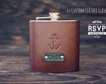 Custom Leather Flask, Handmade personalized gift for your boyfriend, Groomsman, husband, best man. Anchor. Nautical. Pick Initials, text