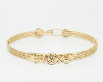 The Annabel Stackable Bracelet \ Gold Stackable Bracelet \ Gold Bangle \ Gold Cuff Jewelry